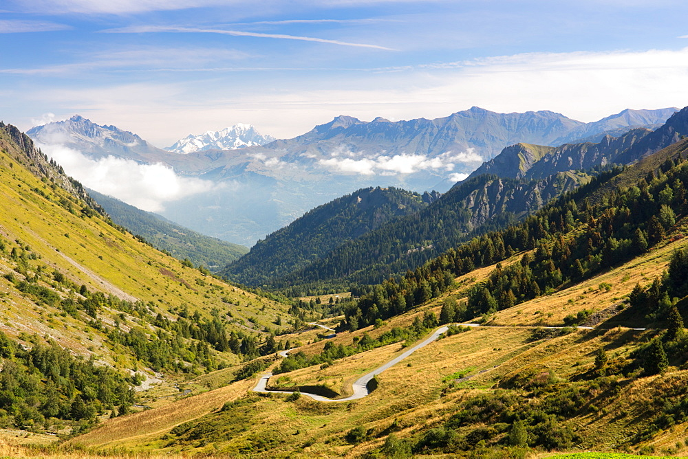 A typical view of the French Alps in the summer, with blue skies, Col du Glandon, Dauphine Alps, Savoie, France, Europe - 1284-178