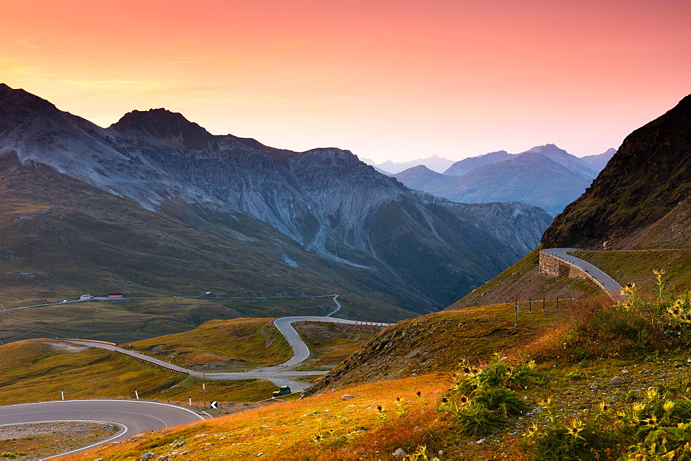 Sunset at the top of the Stelvio Pass (Passo dello Stelvio), Eastern Alps, Italy, Europe - 1284-184