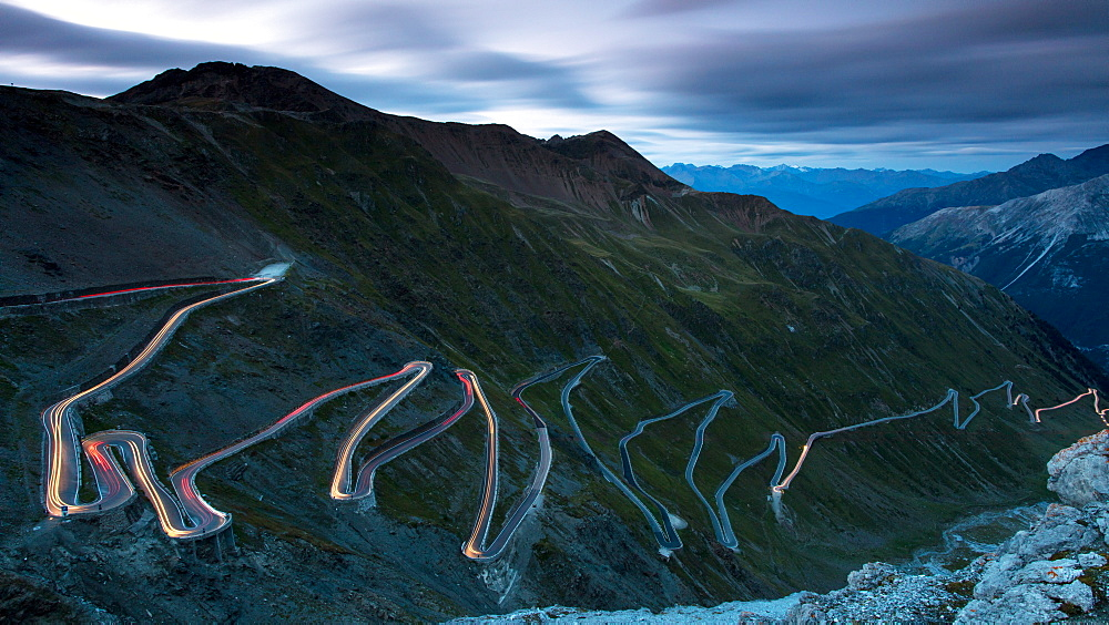 Light trails at night on The Stelvio Pass (Passo dello Stelvio), Eastern Alps, Italy, Europe - 1284-187