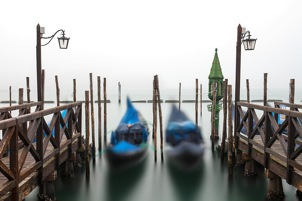 Gondolas in the fog with the Grand Canal in the background, Venice, UNESCO World Heritage Site, Veneto, Italy, Europe