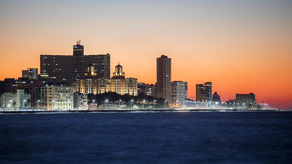 View of Havana at sunset, from the Malecon, Cuba, West Indies, Caribbean, Central America