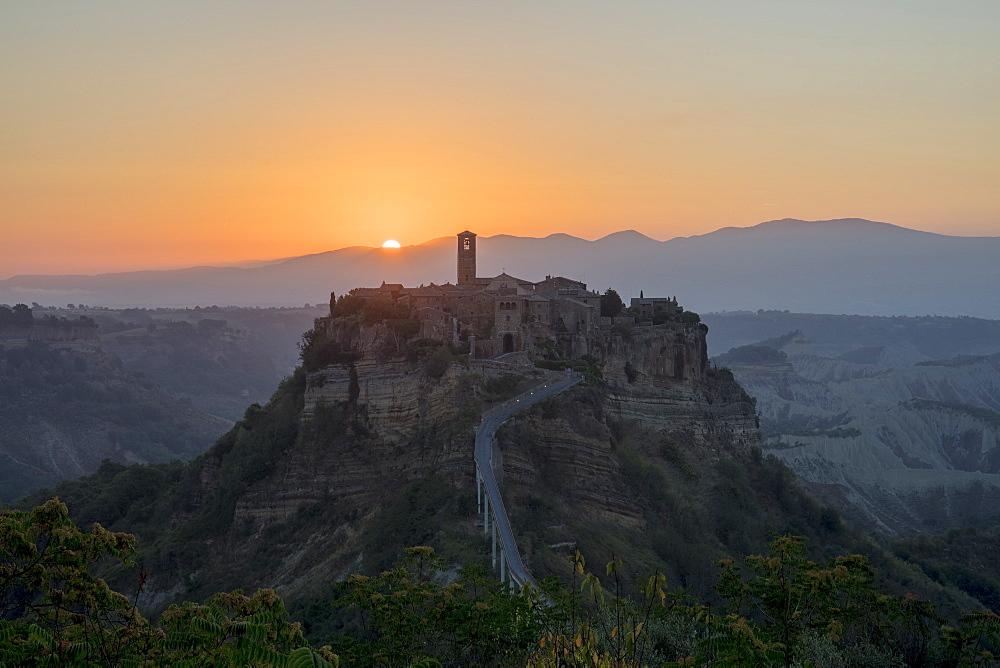 Sunrise at Civita di Bagnoregio, a hill-top town in Italy