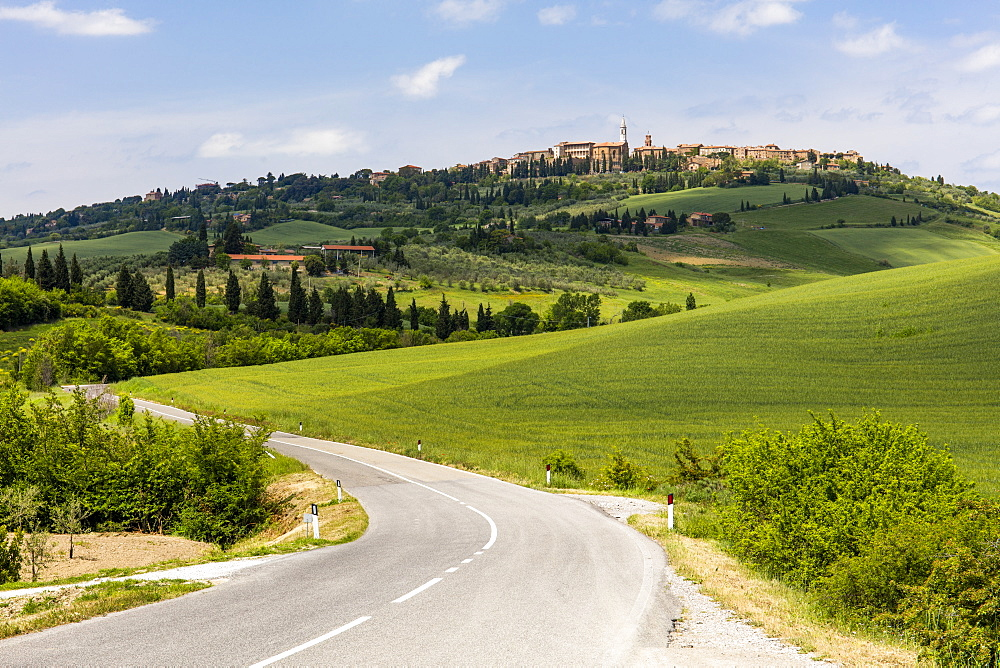 Tuscan road winding through green fields towards Pienza, Tuscany, Italy, Europe - 1284-61