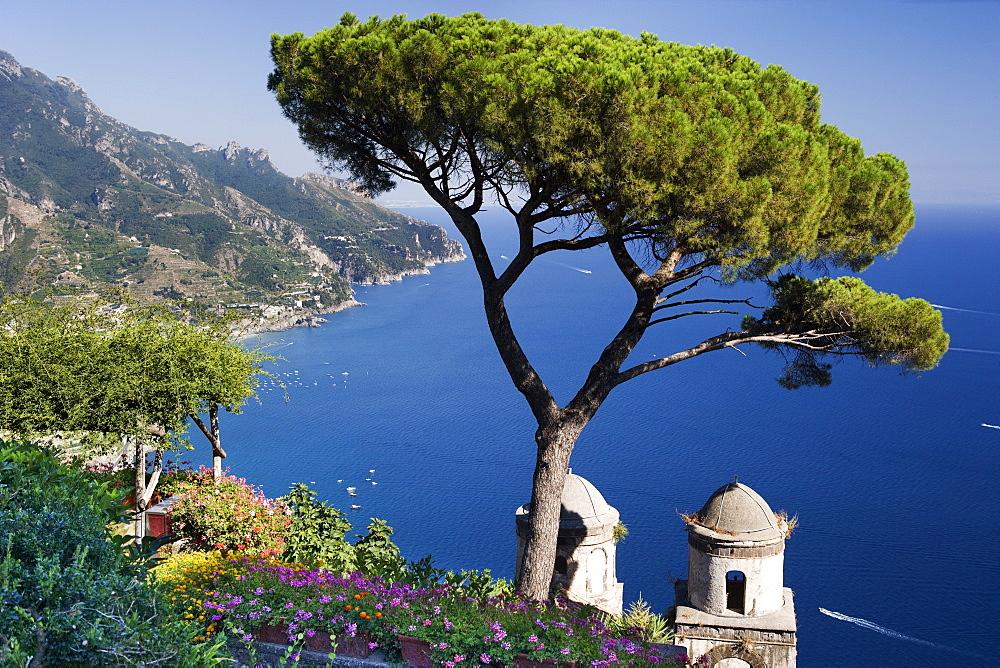View of the Amalfi Coast from Villa Rufolo in Ravello, Amalfi Coast, UNESCO World Heritage Site, Campania, Italy, Europe