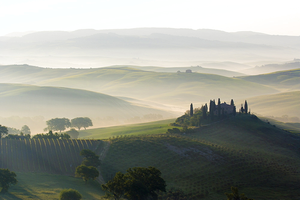 Podere Belvedere and misty hills at sunrise, Val d'Orcia, San Quirico d'Orcia, UNESCO World Heritage Site, Tuscany, Italy, Europe - 1284-69