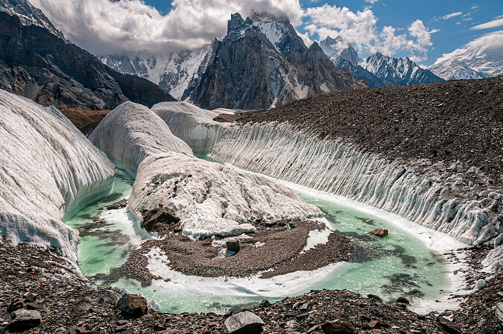 A Glacial river on the Baltoro Glacier at Concordia near K2, in the Karakoram range in northern Pakistan, Asia
