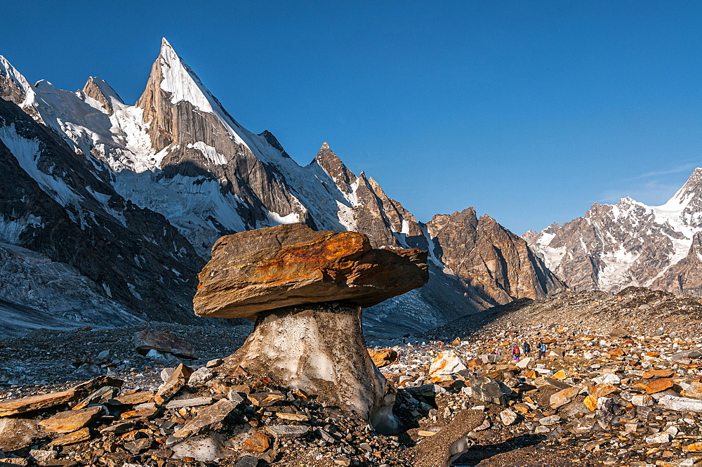 Laila Peak in the Hushe Valley, Karakoram range in Gilgit-Baltistan, Pakistan, with a glacial table in foreground