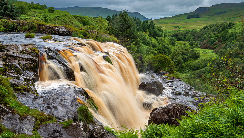 The Loup of Fintry waterfall on the River Endrick, located approximately two miles from Fintry village, near Stirling, Scotland, United Kingdom, Europe