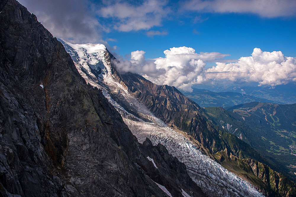 The Bossons Glacier one of the large glaciers of the Mont Blanc massif of the Alps, found in the Chamonix valley of Haute-Savoie, Rhone Alpes, France, Europe - 1287-14