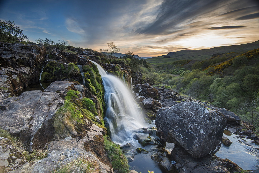 Sunset at the Loup o Fintry waterfall near the village of Fintry, Stirlingshire, Scotland, United Kingdom, Europe - 1287-28