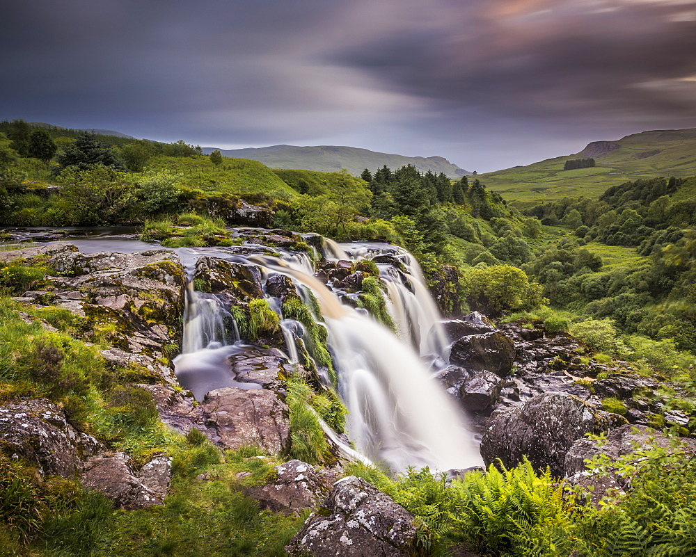 Sunset at the Loup o Fintry waterfall near the village of Fintry, Stirlingshire, Scotland, United Kingdom, Europe - 1287-30