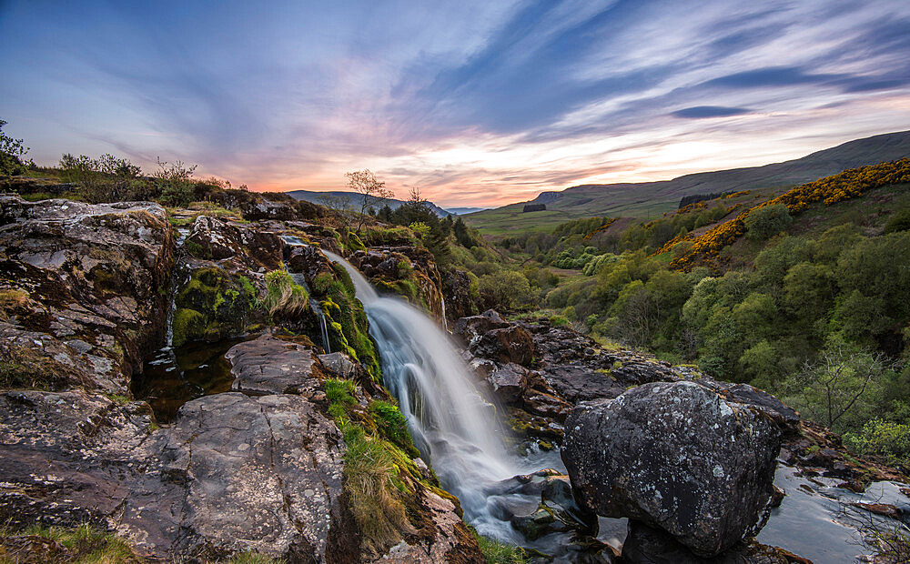 Sunset at the Loup o Fintry waterfall near the village of Fintry, Stirlingshire, Scotland, United Kingdom, Europe - 1287-31