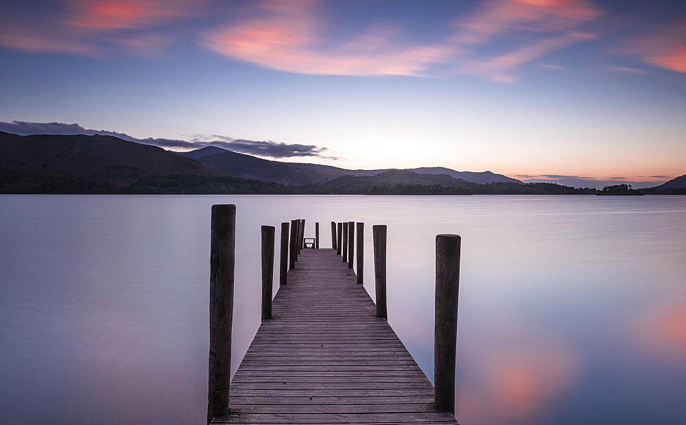 Ferry landing stage on Derwent Water at sunset near Ashness Bridge in Borrowdale, in the Lake District National Park, UNESCO World Heritage Site, Cumbria, England, United Kingdom, Europe - 1287-32
