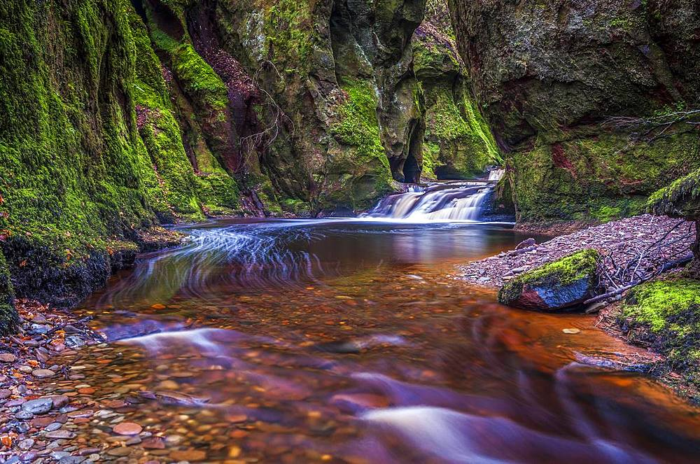 The gorge at Finnich Glen (Devils Pulpit) near Killearn, Stirlingshire, Scotland, United Kingdom, Europe