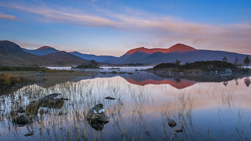 Lochan na h-Achlaise with the early morning light catching the Black Mount in the background, Rannoch Moor, Highlands, Scotland, United Kingdom, Europe - 1287-8