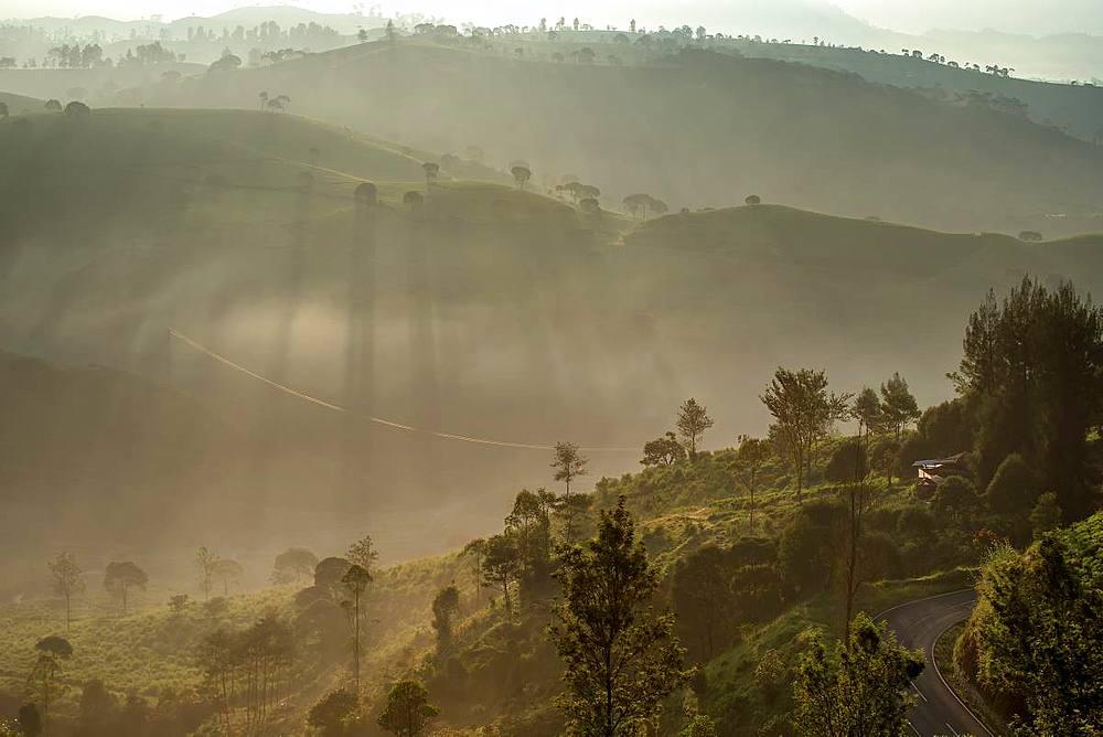 Sunrise moment from Giri's peak, Java, Indonesia, Southeast Asia, Asia - 1288-10