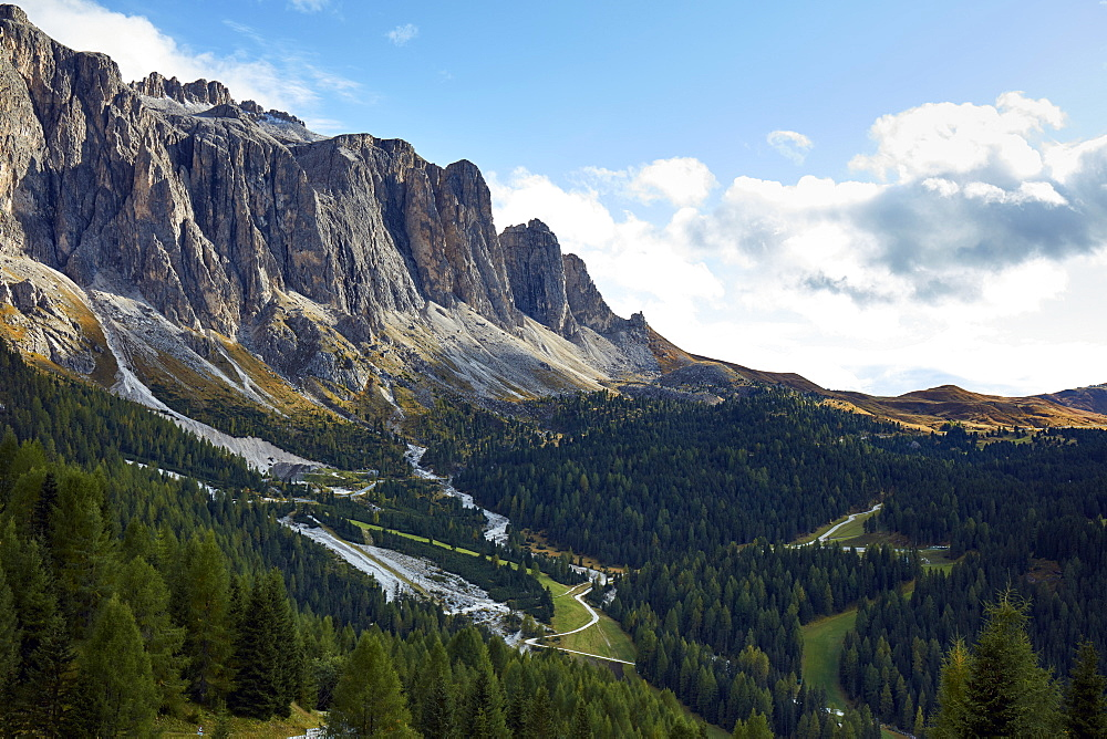 Part of Marmolada mountain range in the dolomite alps in early fall