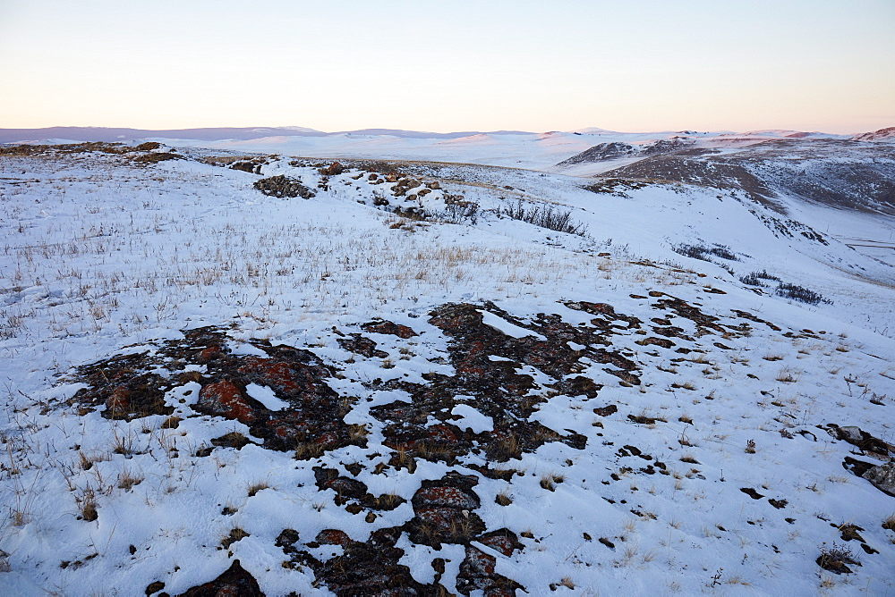 Tazheran steppe along the western shores of lake baikal in winter