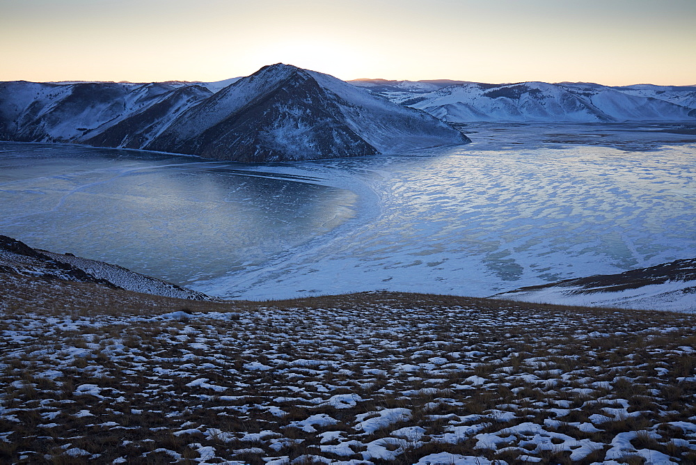 Frozen Lake Baikal at sunset, UNESCO World Heritage Site, Siberia, Russia, Eurasia
