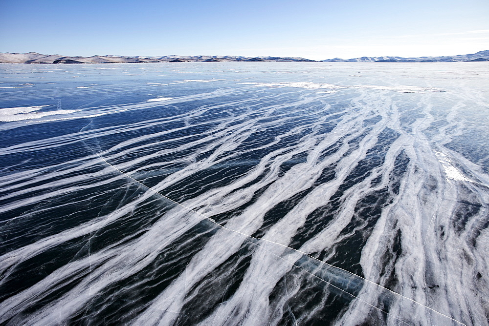 Marbled ice surface of Lake Baikal, UNESCO World Heritage Site, Siberia, Russia, Eurasia - 1294-135