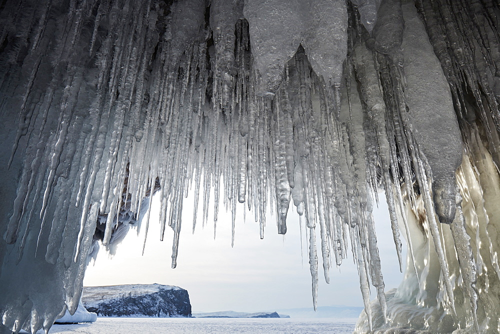 Ice cave look out on Lake Baikal, UNESCO World Heritage Site, Siberia, Russia, Eurasia - 1294-137