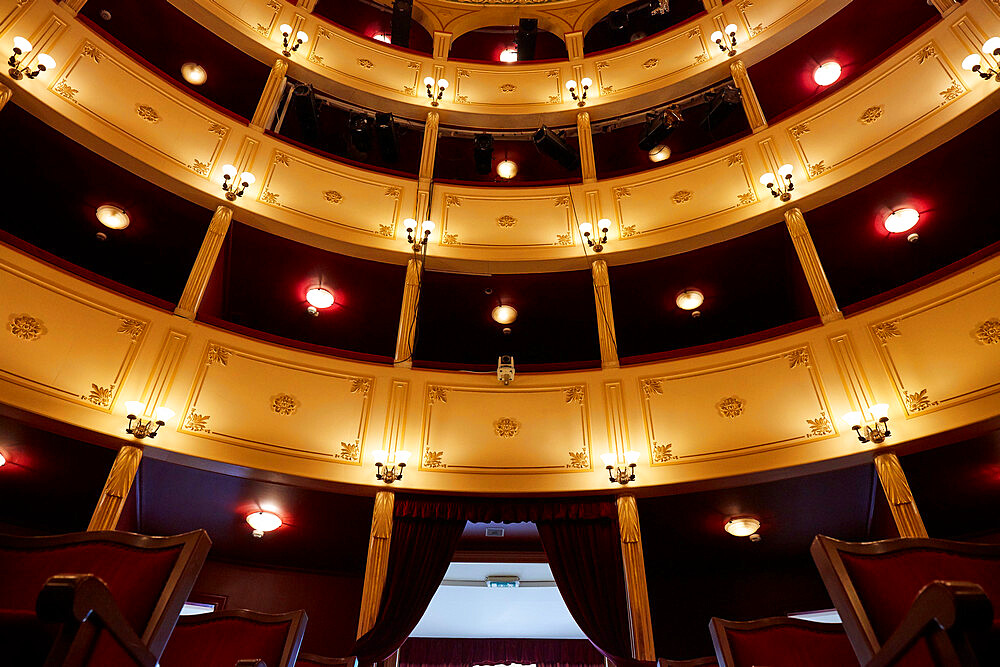 Inside the little opera house in Ermoupoli on Syros island, the building is a small copy of La Scala in Milan, Syros, Cyclades, Greek Islands, Greece, Europe - 1294-176