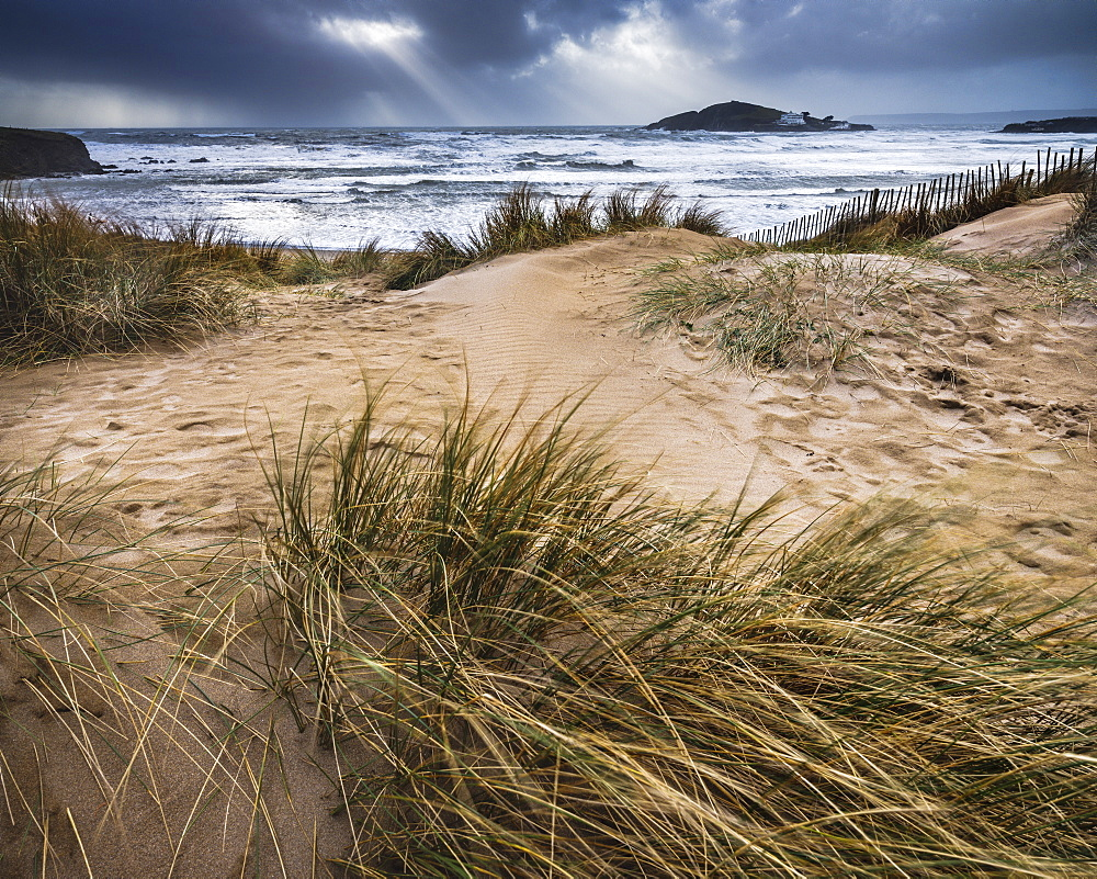 The beach at Bantham during a storm, near Kingsbridge, Devon, UK - 1295-189