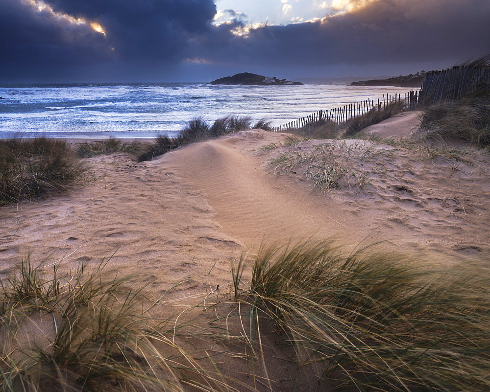 The beach at Bantham during a storm, near Kingsbridge, Devon, UK - 1295-198