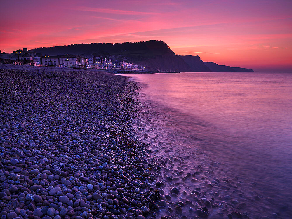 Vivid dawn twilight at the picturesque seaside town of Sidmouth, Devon, UK - 1295-218