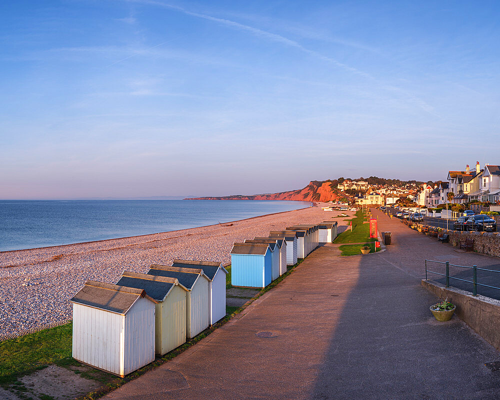 The sea front at Budliegh Salterton in early morning light looking West towards Sandy Bay, Devon, UK - 1295-224