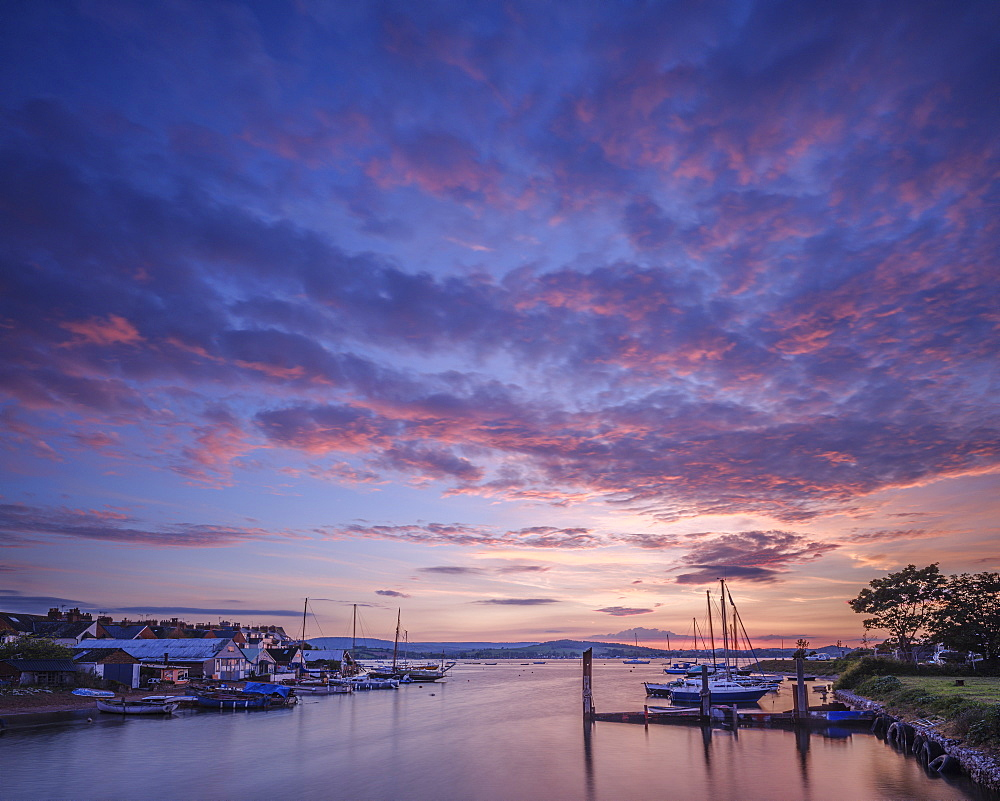 Sunset with boats on the Exe shoreline at the back of Camperdown Terrace, Exmouth, Devon, England, United Kingdom, Europe - 1295-237