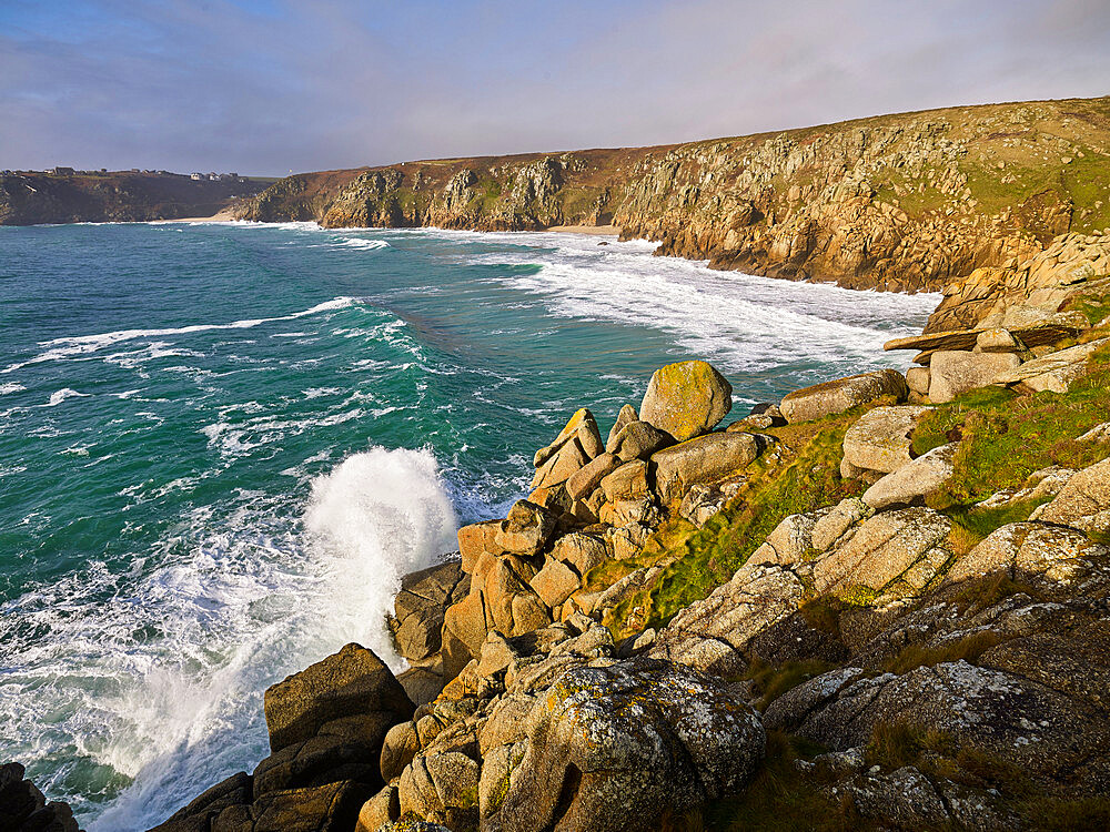 The beautiful & secluded beach of Pedn Vounder viewed from Logan Rock, near Porthcurno, Cornwall, UK - 1295-245