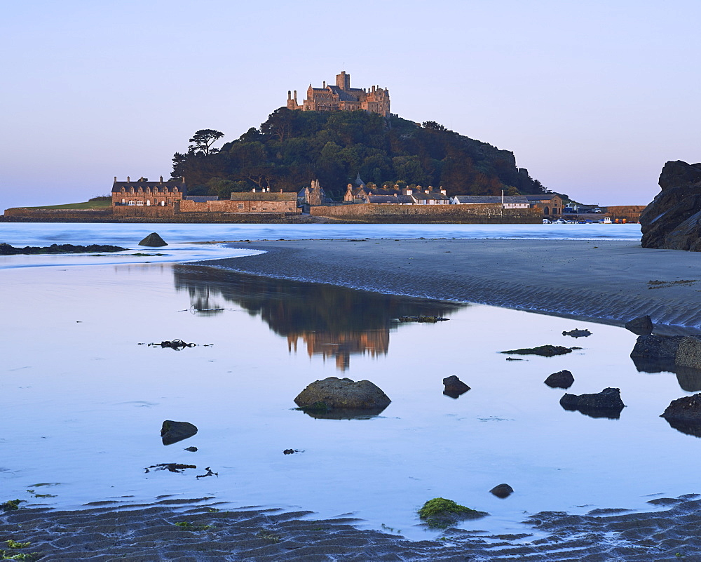 Twilight reflections of St. Michael's Mount in Marazion, Cornwall, England, United Kingdom, Europe - 1295-252