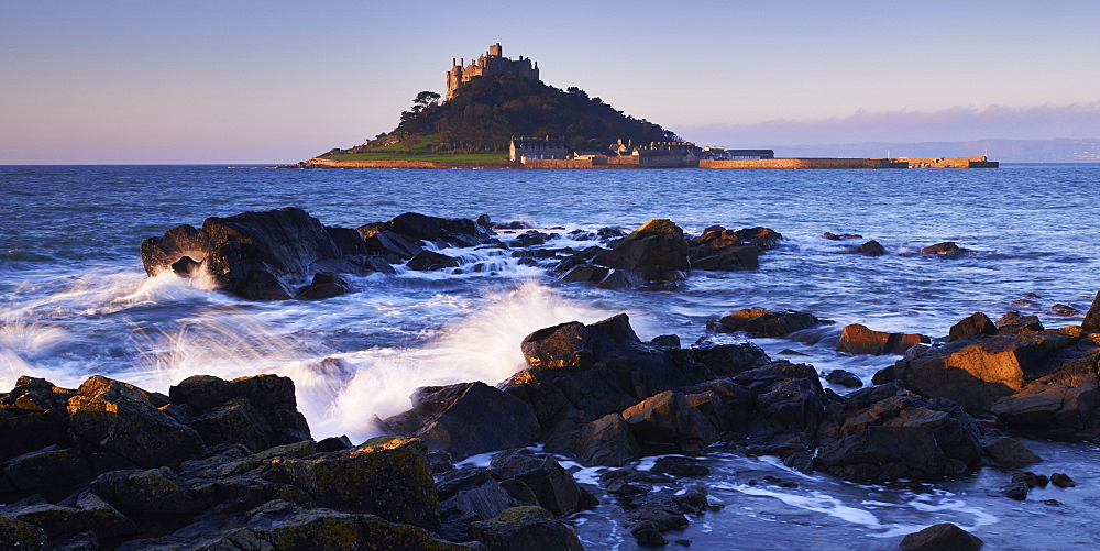 Winter dawn looking at St. Michael's Mount in Marazion, Cornwall, England, United Kingdom, Europe - 1295-254