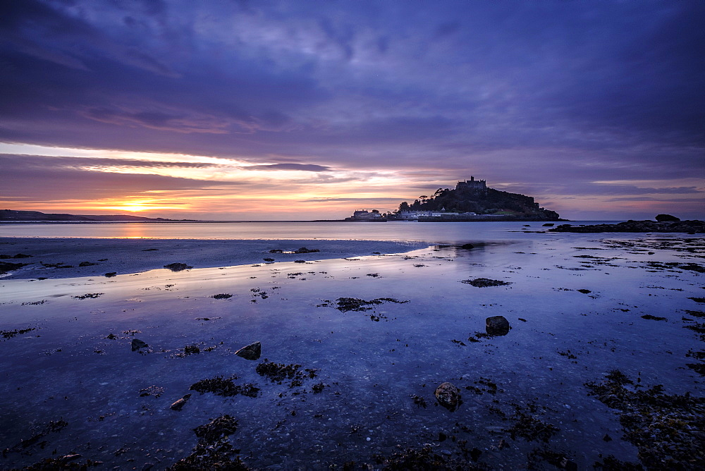 Winter sunrise at St. Michael's Mount in Marazion, Cornwall, England, United Kingdom, Europe - 1295-257