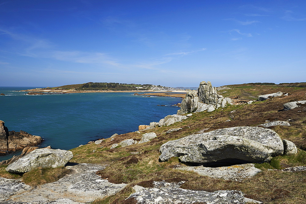 Granite rocks on a headland near Old Town, looking at Samsom, St. Mary's, Isles of Scilly, England, United Kingdom, Europe - 1295-258