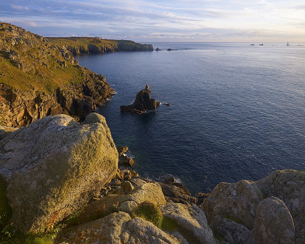 Summer evening light on Irish Lady and cliffs at Land's End, Cornwall, England, United Kingdom, Europe