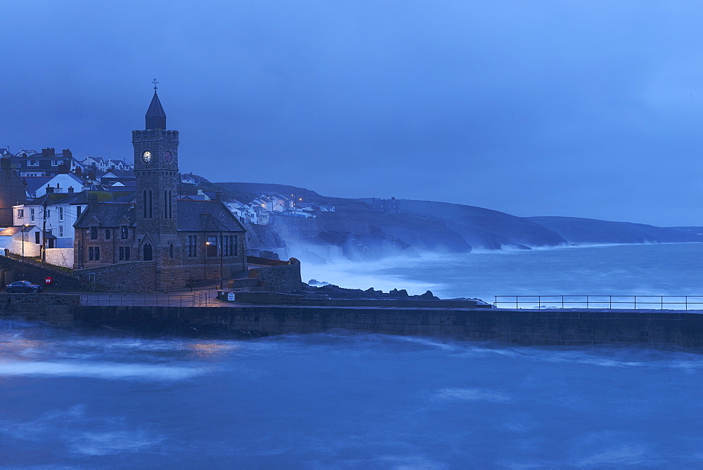 Early morning in a gale at Porthleven, Cornwall, England, United Kingdom, Europe - 1295-278
