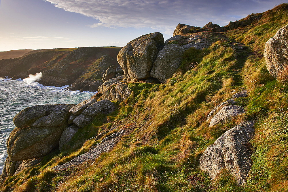 Warm light on Rospletha cliff, Porthchapel, Porthcurno, Cornwall, England, United Kingdom, Europe - 1295-280