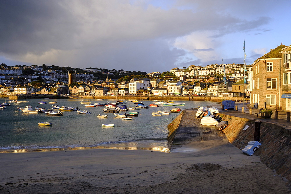 Early morning view across the harbour at the popular and scenic town of St. Ives, Cornwall, England, United Kingdom, Europe - 1295-282