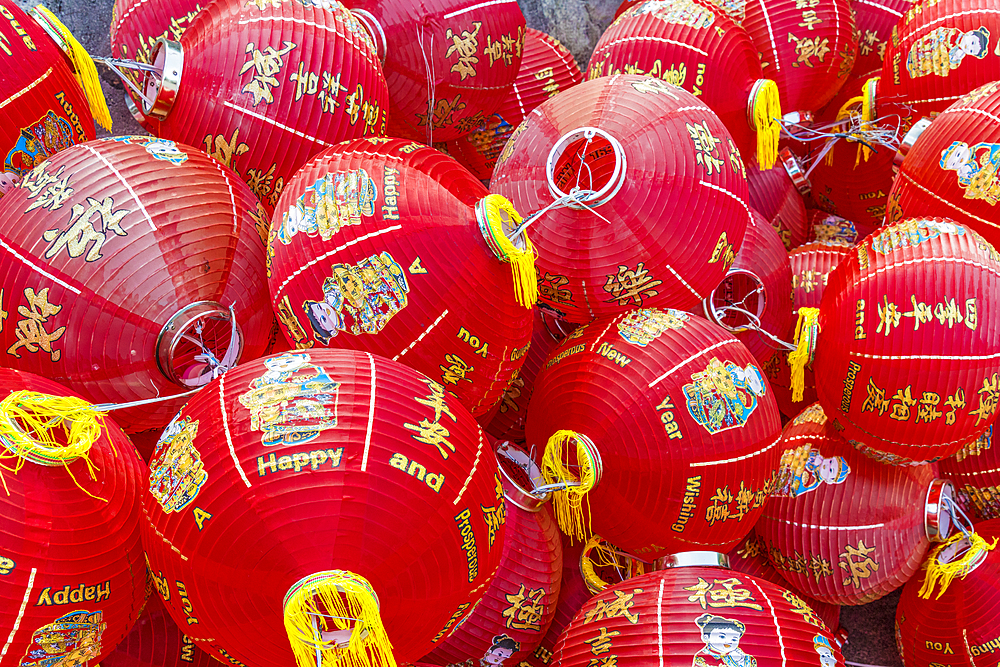 Colourful lanterns at Kek Lok Si Temple, George Town, Penang, Malaysia, Southeast Asia, Asia