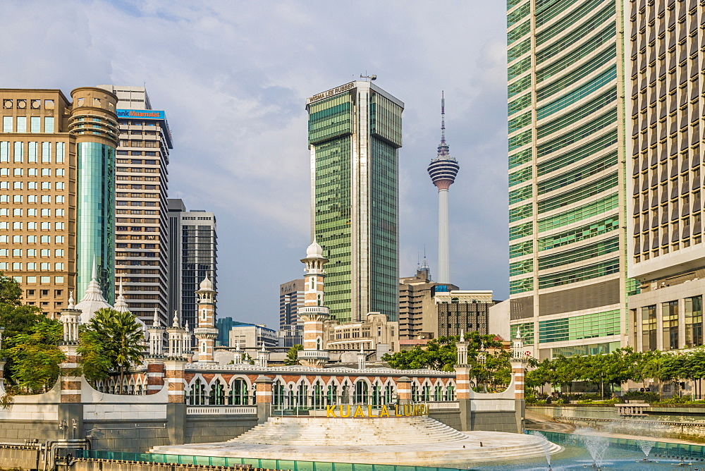 View of the city and the Sultan Abdul Samad Jamek Mosque, Kuala Lumpur, Malaysia, Southeast Asia, Asia
