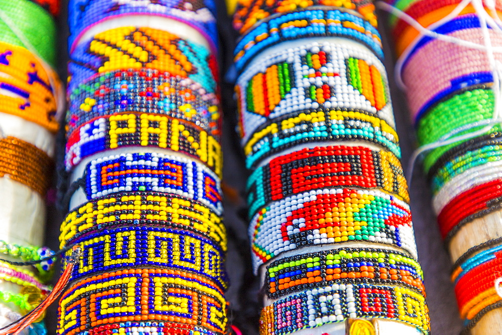 Traditional handmade shakira bracelets for sale in the San Blas Islands, Kuna Yala, Panama, Central America