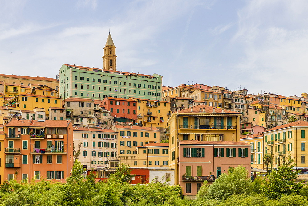 The colourful buildings in Ventimiglia, Liguria, Italy, Europe - 1297-1103