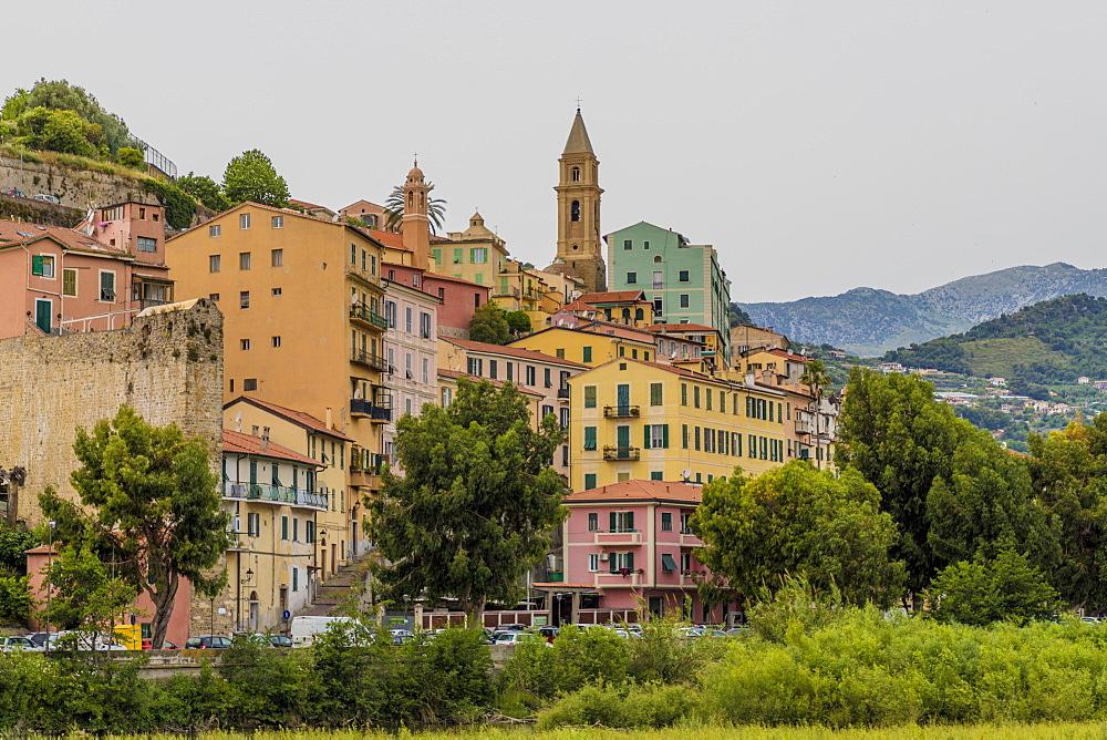 The colourful buildings in Ventimiglia, Liguria, Italy, Europe - 1297-1104