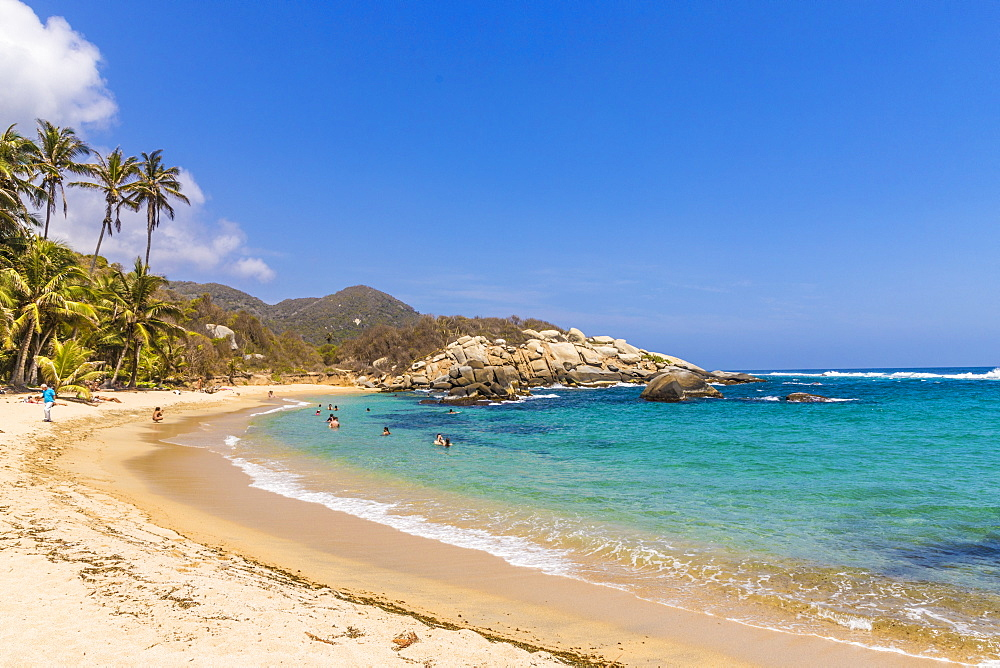 A view of the Caribbean beach at Cabo San Juan in Tayrona National Park, Colombia, South America