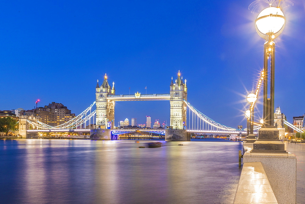Tower Bridge and River Thames at night, London, England, United Kingdom, Europe