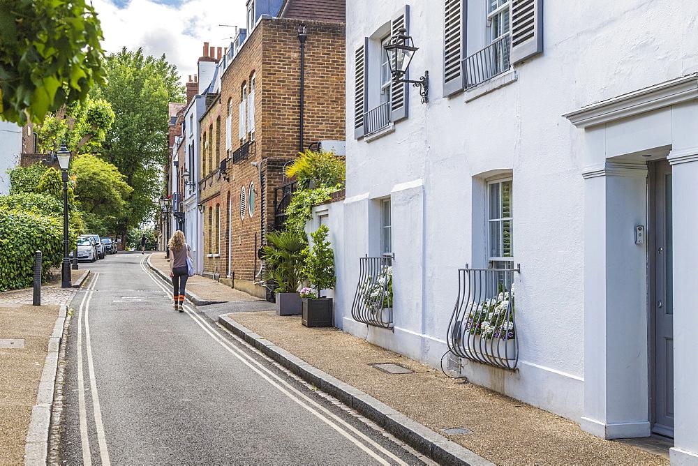 Beautiful local street, Hampstead, London, England, United Kingdom, Europe - 1297-1181