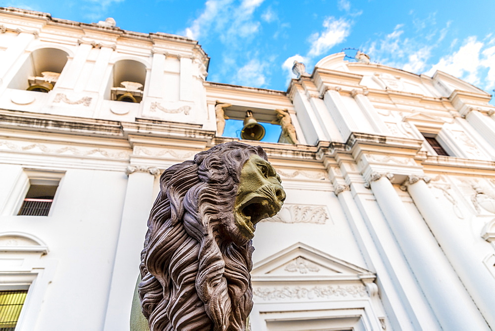 A lion statue outside the Cathedral of the Assumption of Mary, UNESCO World Heritage Site, Leon, Nicaragua, Central America