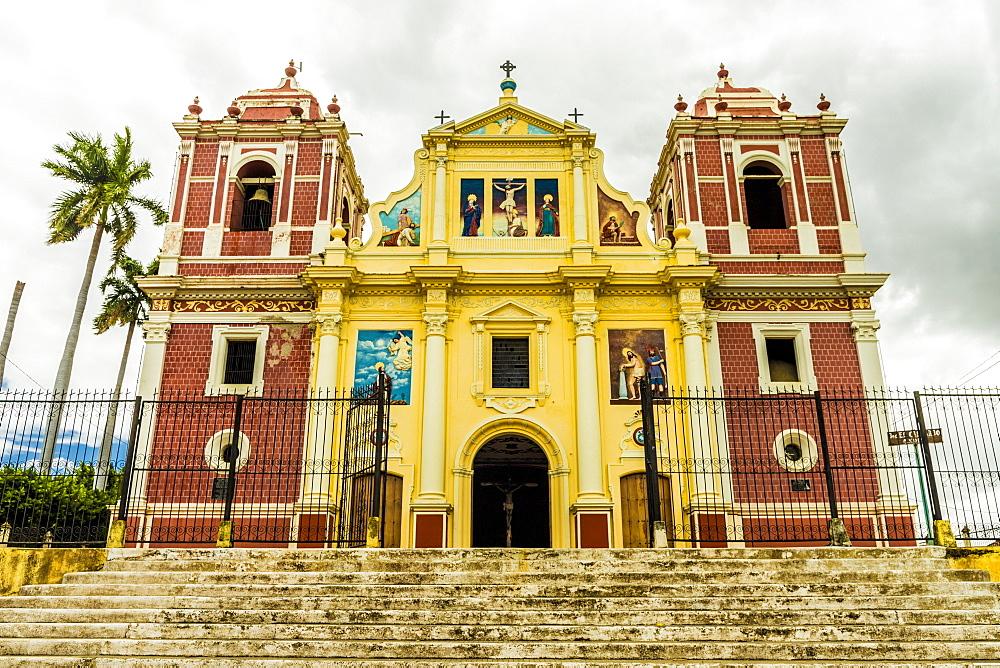 A view of the colourful Church of El Calvario, Leon, Nicaragua, Central America
